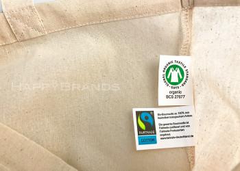 BIO Stofftasche Einkaufstasche FAIRTRADE GOTS Label Kundengeschenk Werbeartikel 1024