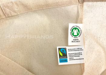 Biostofftasche Bio Shopper mit FAIRTRADE GOTS Label Etikett 1000