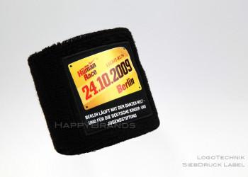 Handgelenkband mit eigenem Logo als Siebdruck Label