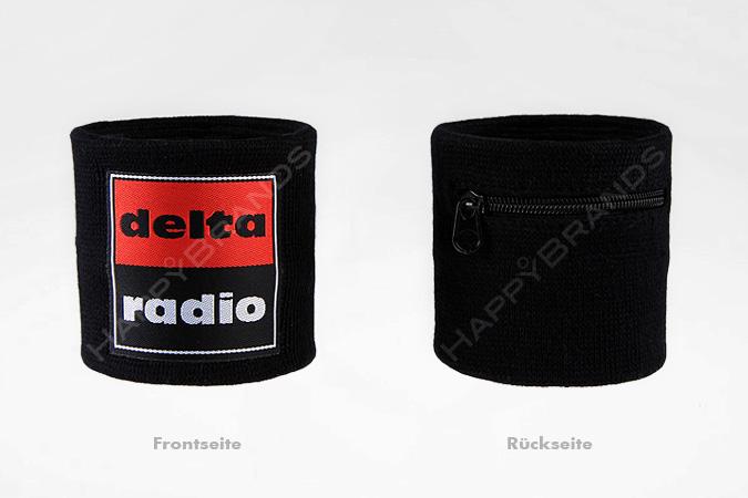 Schweissband Mit Reissverschluss-Tasche-Logo-gewebtes Label
