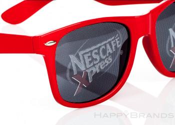 Sonnenbrille mit bedruckten Glaesern
